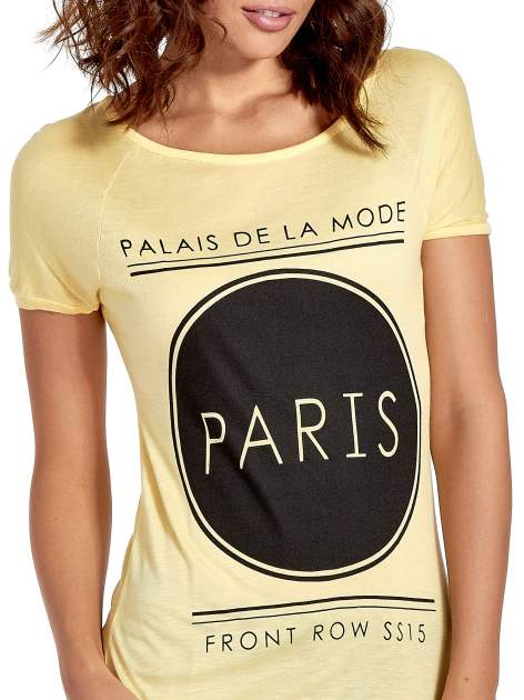 Żółty t-shirt z nadrukiem PARIS                                  zdj.                                  5
