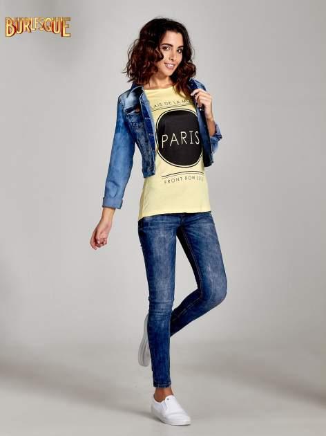 Żółty t-shirt z nadrukiem PARIS                                  zdj.                                  2
