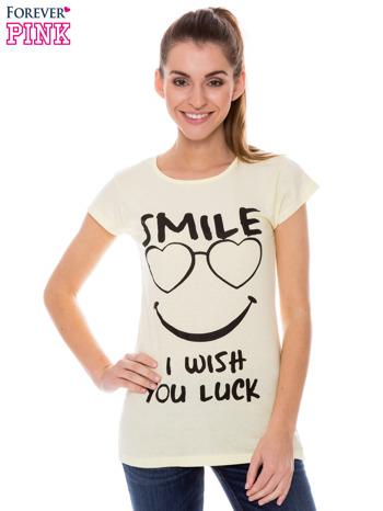 Żółty t-shirt z nadrukiem SMILE                                  zdj.                                  1