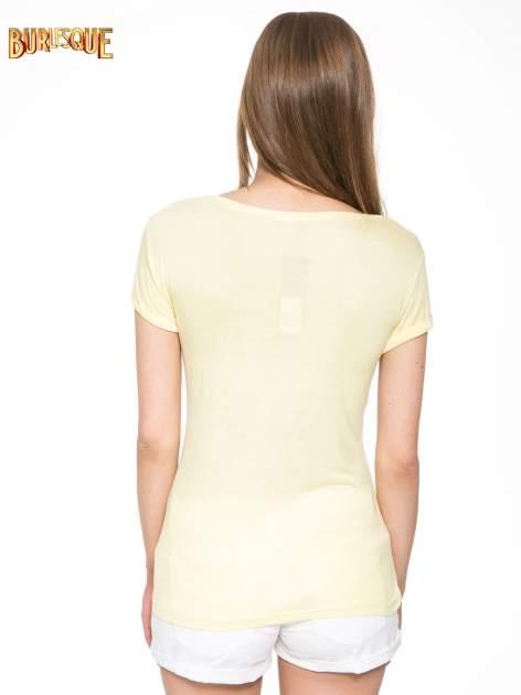 Żółty t-shirt z nadrukiem kota i myszy                                  zdj.                                  4