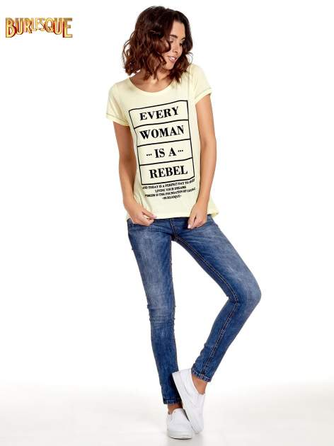 Żółty t-shirt z napisem EVERY WOMAN IS A REBEL                                  zdj.                                  7