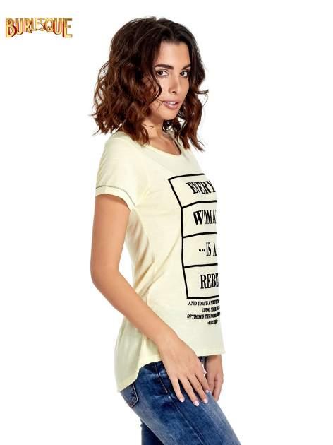 Żółty t-shirt z napisem EVERY WOMAN IS A REBEL                                  zdj.                                  3