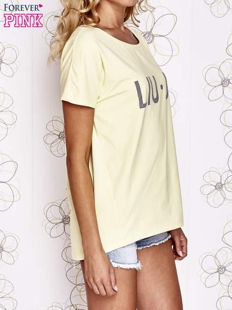 Żółty t-shirt z napisem LIU J❤                                  zdj.                                  3