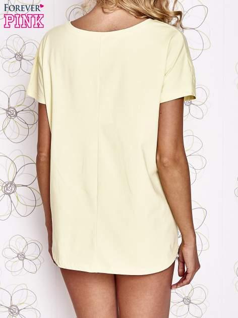 Żółty t-shirt z napisem LIU J❤                                  zdj.                                  4