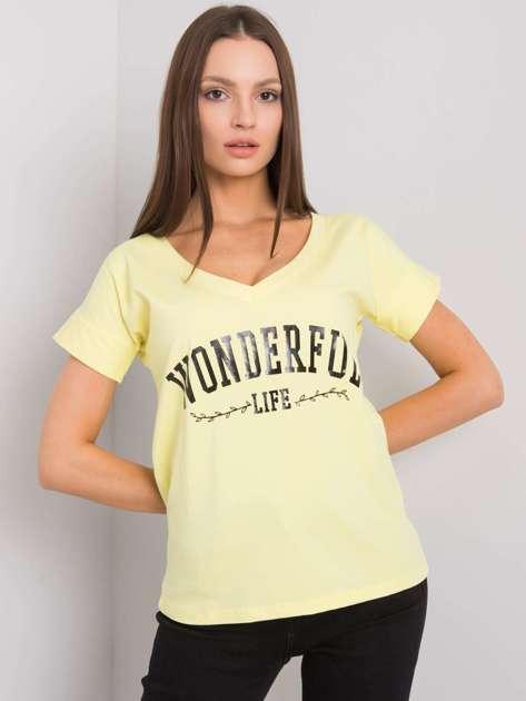 Żółty t-shirt z napisem Leila