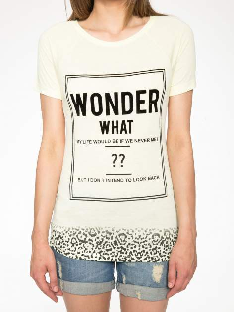 Żółty t-shirt z napisem WONDER WHAT?                                  zdj.                                  7
