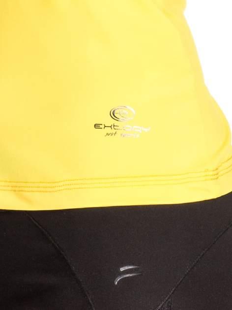 Żółty  top sportowy z siateczką i ramiączkami w kształcie litery T na plecach                                  zdj.                                  5