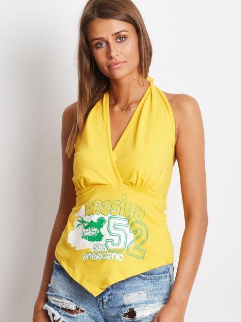 Żółty top wiązany na szyi z nadrukiem