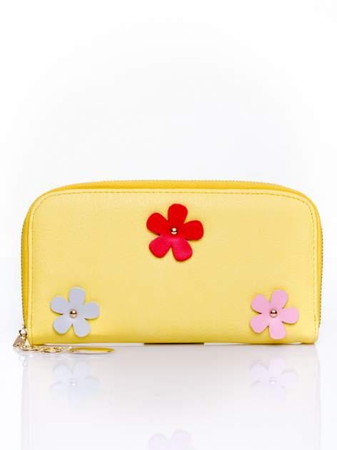 Żółty zasuwany portfel w kwiatki                                  zdj.                                  1