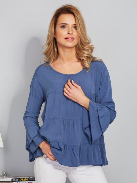 Zwiewna luźna bluzka niebieska                                  zdj.                                  1