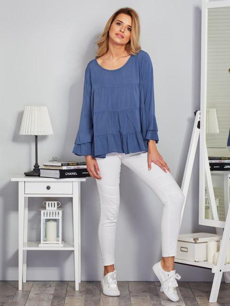 Zwiewna luźna bluzka niebieska                              zdj.                              4