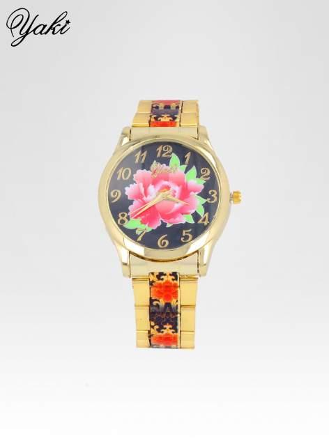 zegarek damski na bransolecie z czerwonym motywem kwiatowym                                  zdj.                                  1