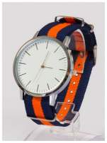 Nowoczesny i elegancki zegarek unisex granatowo-pomarańczowy. Doskonały na każdą okazję.                                  zdj.                                  2