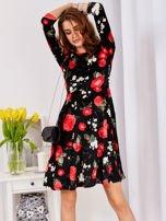 Aksamitna czarna sukienka w kontrastowe kwiaty                                  zdj.                                  4