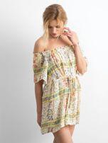BY O LA LA Jasnożółta sukienka hiszpanka w kwiaty                                  zdj.                                  3