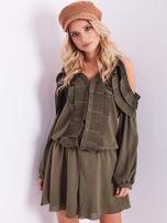BY O LA LA Khaki sukienka cut out z plisowanym żabotem                                  zdj.                                  6