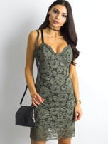 BY O LA LA Khaki sukienka koronkowa                                  zdj.                                  7