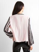BY O LA LA Różowo-czarna bluzka z koronką                                  zdj.                                  2