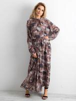 BY O LA LA Wzorzysta sukienka maxi brązowa                                  zdj.                                  1