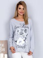 Bawełniana bluzka z nadrukiem kwiatów jasnoszara                                  zdj.                                  1