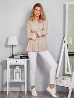 Bawełniana melanżowa bluzka beżowa                                  zdj.                                  4