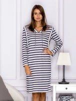 Bawełniana sukienka w paski ze sznurowaniem niebieska                                  zdj.                                  1
