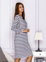 Bawełniana sukienka w paski ze sznurowaniem niebieska                                  zdj.                                  3