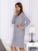 Bawełniana sukienka w paski ze sznurowaniem niebieska                                  zdj.                                  5