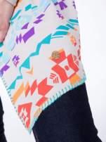Beżowa asymetryczna narzutka w azteckie wzory                                  zdj.                                  8