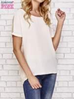 Beżowa bluzka koszulowa z koronką z tyłu