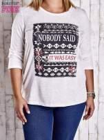 Beżowa bluzka z napisem NOBODY SAID IT WAS EASY PLUS SIZE                                  zdj.                                  1