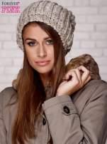 Beżowa czapka z melanżową nicią                                  zdj.                                  1