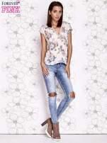 Beżowa koszula z kwiatowym motywem i ażurowym tyłem                                                                          zdj.                                                                         3