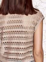 Beżowa koszula z kwiatowym motywem i ażurowym tyłem                                  zdj.                                  7