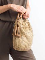 Beżowa mała torebka pleciona do ręki                                  zdj.                                  2
