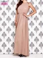 Beżowa sukienka maxi z koronkowym tyłem                                                                          zdj.                                                                         3