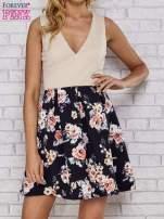 Beżowa sukienka skater z kwiatowym dołem                                  zdj.                                  3