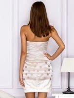 Beżowa sukienka w grochy                                   zdj.                                  2