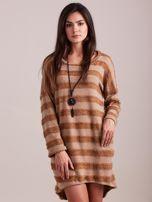 Beżowa sukienka w paski                                  zdj.                                  3