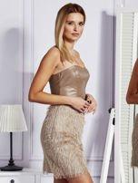 Beżowa sukienka z frędzelkami                                   zdj.                                  3