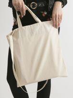 Beżowa torba ekologiczna z bawełny z napisem                                  zdj.                                  2