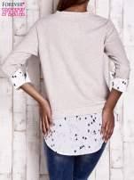 Beżowa warstwowa bluza z motywem ptaków                                  zdj.                                  4
