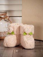 Beżowe buciki dziewczęce z kwiatuszkami                                  zdj.                                  4