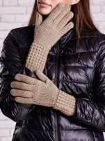 Beżowe długie rękawiczki z fantazyjnym ściągaczem                                  zdj.                                  1