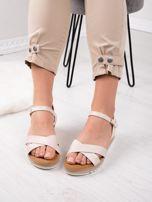 Beżowe sandały BELLO STAR na podwyższeniu z paskami na krzyż                                  zdj.                                  5