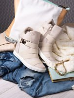 Beżowe zamszowe sneakersy bandage z klamerką Lucky                                  zdj.                                  1