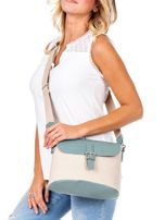 Beżowo-zielona materiałowa torba z klapką                                  zdj.                                  5