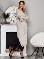 Beżowy długi sweter z rozcięciem                                   zdj.                                  4