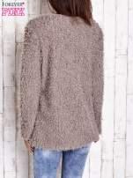 Beżowy futrzany sweter kurtka na suwak                                                                          zdj.                                                                         5