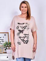 Beżowy t-shirt damski w motyle PLUS SIZE                                  zdj.                                  1
